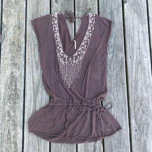 Free people tie waist embroidered top